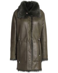Yves Salomon - Shearling-lined Leather Coat Army Green - Lyst