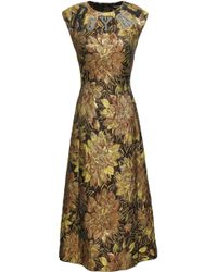 1197424d Dolce & Gabbana - Woman Embellished Appliquéd Metallic Brocade Midi Dress  Gold - Lyst