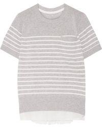 Sacai - Satin-paneled Striped Cotton Top - Lyst