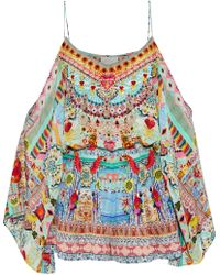 Camilla - Woman Close To My Heart Cold-shoulder Embellished Printed Silk Playsuit Multicolour - Lyst