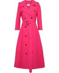 Khaite Charlotte Double-breasted Cotton-gabardine Trench Coat Bright Pink