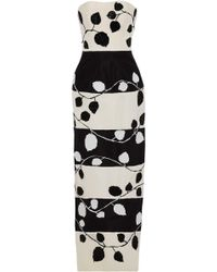 Carolina Herrera - Strapless Embellished Two-tone Silk Gown - Lyst