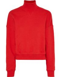 Goen.J - Woman French Cotton-terry Turtleneck Top Red - Lyst