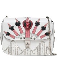 Valentino - Woman Love Blade Embellished Leather Shoulder Bag White - Lyst