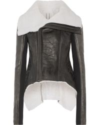 Rick Owens - Shearling-trimmed Leather Jacket - Lyst