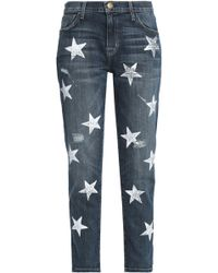 Current/Elliott - Distressed Printed High-rise Slim-leg Jeans - Lyst