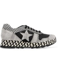 Stella McCartney - Macy Faux Suede And Woven Faux Leather Sneakers - Lyst