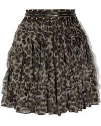 Just Cavalli - Ruffled Leopard-print Tulle Mini Skirt - Lyst