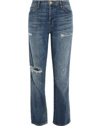 Current/Elliott - The Slouchy Distressed Boyfriend Jeans Mid Denim - Lyst