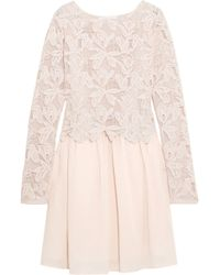 See By Chloé - See By Chloé Woman Layered Guipure Lace And Cotton-voile Mini Dress Pastel Pink - Lyst