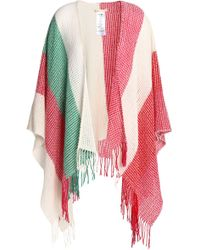 Maje - Fringe-trimmed Striped Knitted Cape - Lyst
