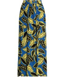Boutique Moschino - Pleated Floral-print Crepe De Chine Maxi Skirt Cobalt Blue - Lyst