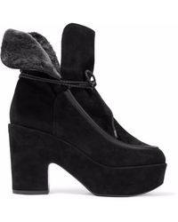 Robert Clergerie - Faux Fur-lined Suede Platform Ankle Boots - Lyst