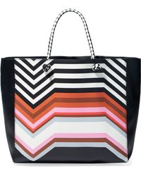 Missoni - Woman Printed Leather Tote Black - Lyst