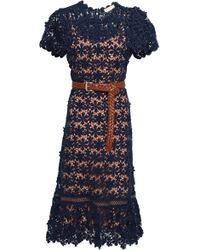 MICHAEL Michael Kors Belted Guipure Cotton-lace Dress Navy