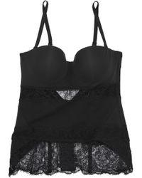 a6163106f81 La Perla - Woman Corded Lace-paneled Stretch-knit Corset Black - Lyst