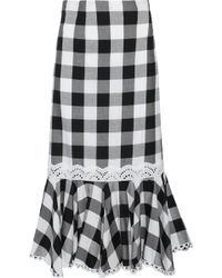 Marissa Webb - Lou Fluted Gingham Cotton-blend Twill Midi Skirt - Lyst