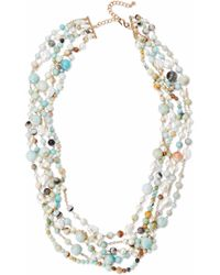 Kenneth Jay Lane - Gold-tone Faux Pearl And Stone Beaded Necklace - Lyst