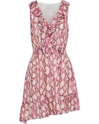 Rachel Zoe - Woman Lyle Asymmetric Snake-print Silk Crepe De Chine Mini Dress Animal Print Size 4 - Lyst
