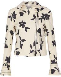 Carolina Herrera - Floral-print Wool-twill Biker Jacket - Lyst