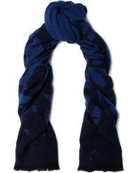 McQ - Woman Wool-blend Jacquard Scarf Navy - Lyst