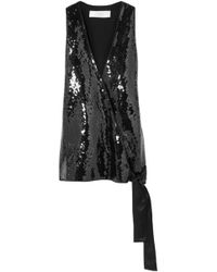 Victoria, Victoria Beckham - Satin-trimmed Sequined Woven Wrap Top - Lyst