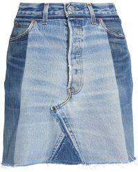 Levi's - Frayed Two-tone Denim Mini Skirt Mid Denim - Lyst