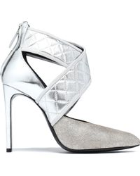 Lanvin - Quilted, Glittered And Mirrored-leather Court Shoes - Lyst