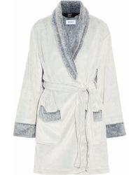 DKNY - Printed Two-tone Fleece Robe Light Grey - Lyst