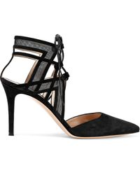 Gianvito Rossi - Adria Lace-up Suede And Mesh Pumps - Lyst