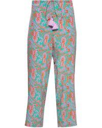 Figue - Woman Goa Tasseled Silk Crepe De Chine Straight-leg Pants Jade - Lyst