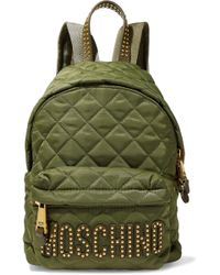 Moschino - Studded Leather-trimmed Quilted Shell Backpack - Lyst