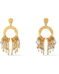 Elizabeth Cole - Cadence Hammered Gold-plated Crystal Earrings - Lyst