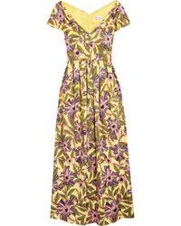 RED Valentino - Floral Popeline Midi Dress - Lyst