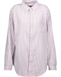 Current/Elliott - The Simple Prep School Striped Cotton Shirt - Lyst