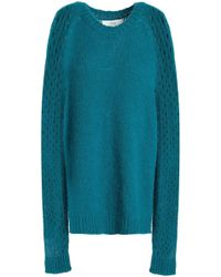 Vanessa Bruno Athé - Woman Panelled Knitted Jumper Teal Size L - Lyst