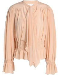 39a4bc19c11187 Chloé Pussy-bow Silk Crepe De Chine Blouse in Natural - Lyst