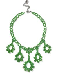 Ben-Amun - Woman Beaded Silver-tone Necklace Green Size -- - Lyst
