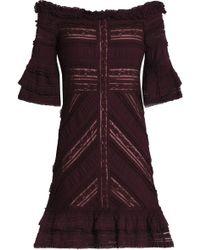 Cinq À Sept - Naya Off-the-shoulder Ruffled Cotton-blend Lace Mini Dress - Lyst