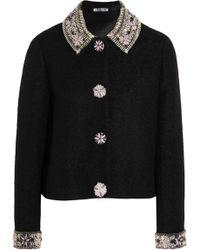 Holly Fulton - Embellished Wool-blend Bouclé Jacket - Lyst