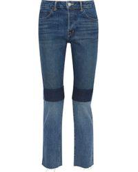 Helmut Lang - Cropped Patchwork Mid-rise Slim-leg Jeans - Lyst