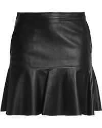 COACH - Fluted Leather Mini Skirt - Lyst