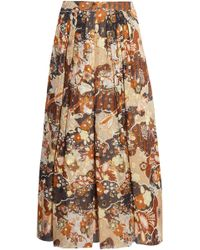 Chloé - Printed Fil Coupé Silk Midi Skirt - Lyst