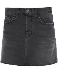 Current/Elliott - Frayed Denim Mini Skirt - Lyst