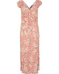 Love Sam - Serena Ruched Floral-print Crepe De Chine Dress - Lyst