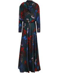 Vionnet - Woman Floral-print Silk-satin Maxi Dress Dark Green - Lyst