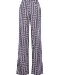 Derek Lam - Woman Linen And Cotton-blend Jacquard Wide-leg Pants Purple - Lyst