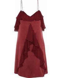 Haute Hippie - Bibi Ruffled Chiffon-trimmed Washed-silk Mini Dress - Lyst