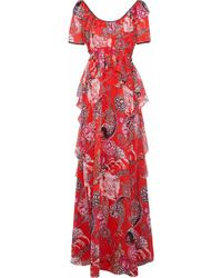 Temperley London - Ruffled Printed Fil Coupé Gown - Lyst
