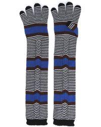 Missoni - Woman Striped Wool Gloves Black Size M - Lyst